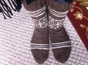 brown white slipper socks 2